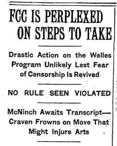 Headline from The New York Times, November 1, 1938.