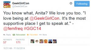 GeekGirlCon Anita Sarkeesian Tweet