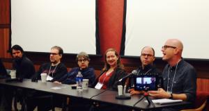L to R: Brett Eugene Ralph, Ethan Buckler, Britt Walford, Rachel Grimes, David Grubbs, and moderator Cotten Seiler. Not pictured: Heather Fox.