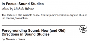 """""""In Focus: Sound Studies"""" from Cinema Journal 48.1, Fall 2008"""