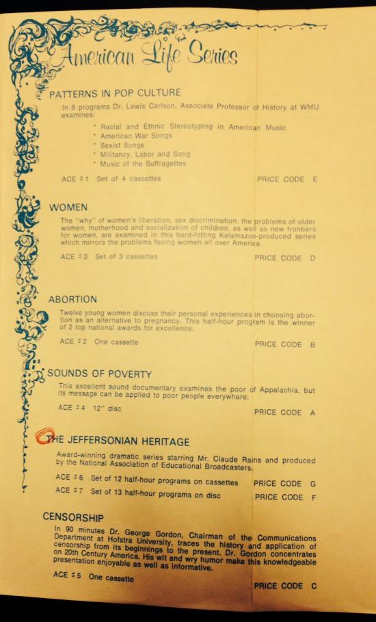 Aural Press brochure, describing the American Life Series